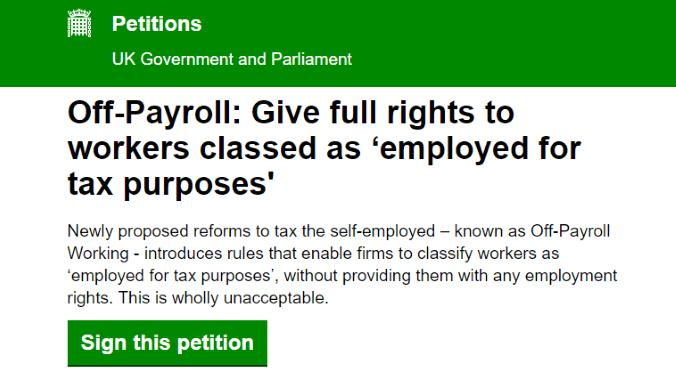 Off-Payroll Working: new petition launched to ensure ...